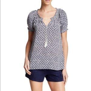 Joie Marsha Elephant Print Silk Blouse Size M